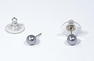 """""""Gömböcske"""" fülbevaló - ezüstszürke, 6 mm"""