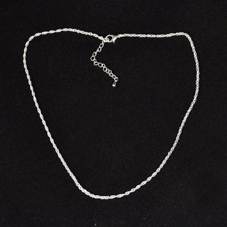 Nikkelmentes fém, dupla-szemes lánc ezüst bevonattal, 45-50 cm