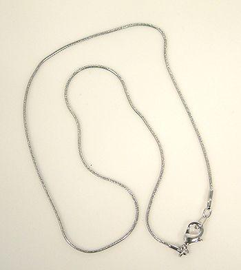 Nikkelmentes fém kígyólánc, ródium bevonattal, 42 cm