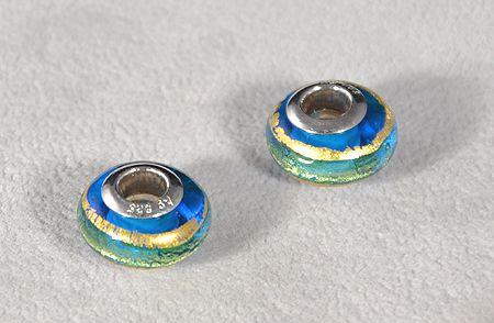 """""""Saturnus"""" egyedi üveg medál - kék, zöld, arany (muránói üveg)"""