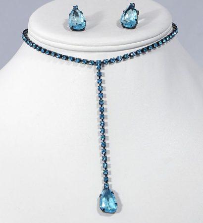 """""""Shiny stone"""" kristály ékszergarnitúra - türkizkék, 1 köves rövid modell"""