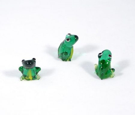 Zöld béka - miniatűr üvegfigura