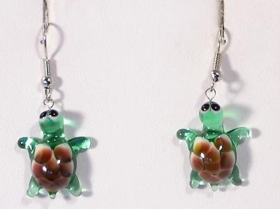 Teknősbéka - fülbevaló miniatűr üvegfüggővel