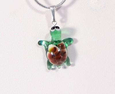 Teknősbéka - miniatűr üvegmedál