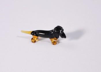 Tacskó, fekete - minitaűr üvegfigura