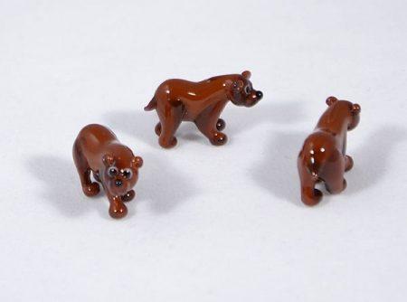 Barna medve - miniatűr üvegfigura