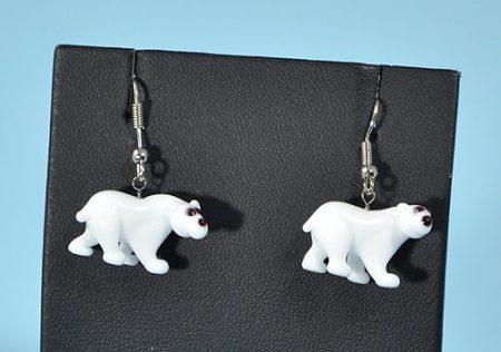 Jegesmedve - fülbevaló miniatűr üvegfüggővel