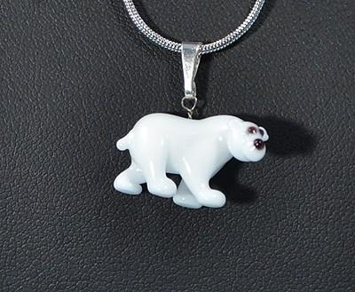 Jegesmedve - miniatűr üvegmedál