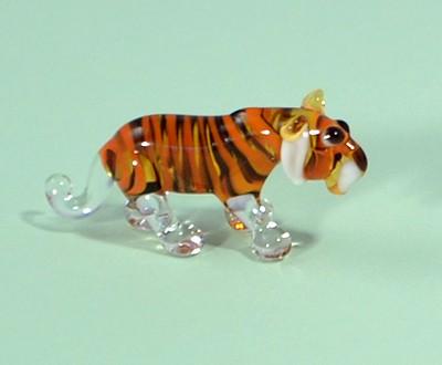 Tigris - miniatűr üvegfigura, álló