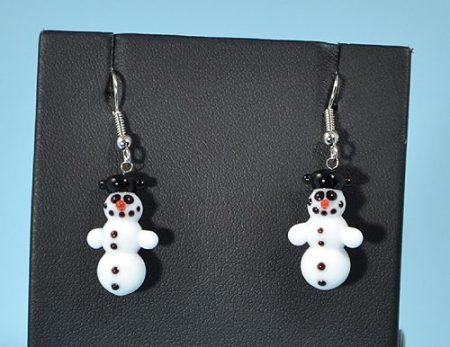 Hóember - fülbevaló miniatűr üvegfüggővel