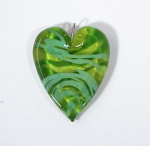 Valentin egyedi üveg medál - zöld csíkos