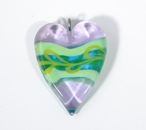 Valentin egyedi üveg medál - halványlila