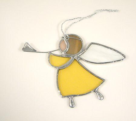 Harsonás angyalka függődísz - sárga