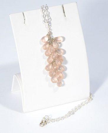 """""""Üvegszőlő"""" nyaklánc - matt rózsaszín"""