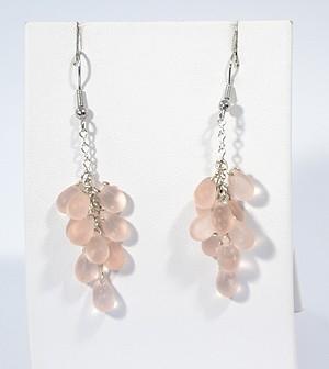 """""""Üvegszőlő"""" fülbevaló - matt rózsaszín"""