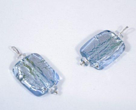 """""""Ezüst csillám"""" egyedi üveg medál - kék"""