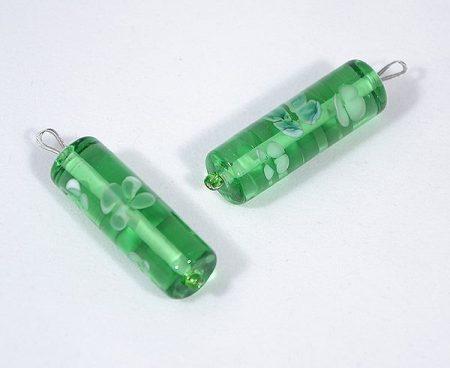 """""""Tavasz"""" egyedi üveg medál - zöld"""