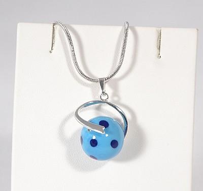 """""""Pöttyös Panna"""" egyedi üveg medál - kék"""