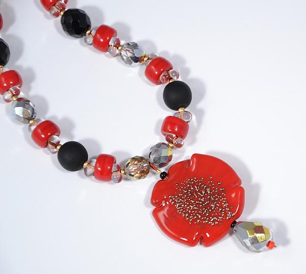 Rossonero - nyaklánc egyedi üveg medállal